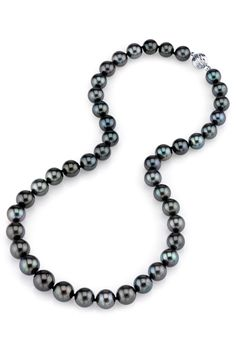 14K White Gold 9-11mm Black Tahitian South Sea Pearl Necklace
