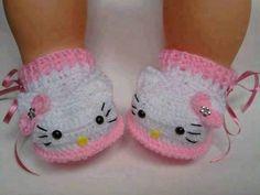 Hermosos Zapatitos Hello Kitty Bebé Tejidos A Mano Crochet ...