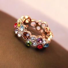 Extraordinary Colorful Rainbow Stones Fashion Rose Gold Ring