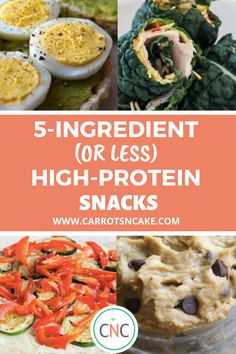 A free healthy snack resource! This ebook includes nearly two dozen recipe and ideas for high-protein snacks that are made with 5 ingredients or less! If you are trying to find healthier snacks, this. Nutritious Snacks, Savory Snacks, Yummy Snacks, Healthy Snacks, Snack Recipes, Healthy Eating, Protein Recipes, Delicious Food, Easy Recipes