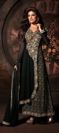 412921, Party Wear Salwar Kameez, Georgette, Patch, Zari, Lace, Machine Embroidery, Black and Grey Color Family
