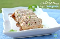 Pork Medallions with Maple Balsamic Sauce - easy, 30 minute recipe for tender, flavorful pork in a DELICIOUS sauce! Mustard Pork Tenderloin, Pork Medallions, Maple Balsamic, 30 Minute Meals, Dinner Recipes, Easy Meals, Favorite Recipes, Beef, Stuffed Peppers