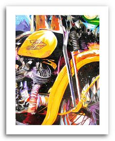 Harley Davidson Motorcycle Art  Route 66  11x14 by DonshanArt, $24.00  He will love this for Valentines Day