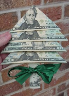 Unique DIY idea for giving money as a Christmas gift - fold the bills to look like a Christmas tree