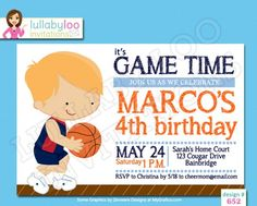 Boys Basketball Birthday Party Invitations #artfire #basketball #birthday #party #invitations # boys Basketball Birthday Parties, Boy Birthday Invitations, 4th Birthday, Party Planning, Rsvp, Projects To Try, Family Guy, Boys, Baby Boys
