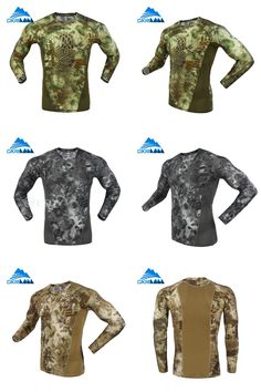[Visit to Buy] Mens Camo Long Sleeve Quick Dry Fishing Tactical T-shirt Men Combat Running Tights Outdoor Hiking T Shirt Ciclismo Hunting Shirt #Advertisement