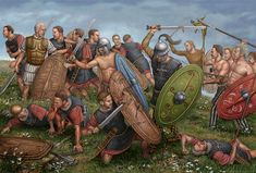 Battle between Romans and Celts, 1st cent. B.C. ~ Illustration by Angel García Pinto.