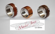 anillos de acero quirurgico con madera de azufaifo ,de bubinga y de algarrobo