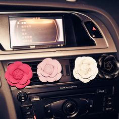 $6. Camellia Flower Car Air Vent Bling Decoration with Air Freshener DIY clip - Carsoda - 1