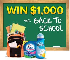 "*THIS SWEEPSTAKES HAS ENDED* Repin if you want to WIN 1,000 bucks in the Purex ""Back to School"" #giveaway!"