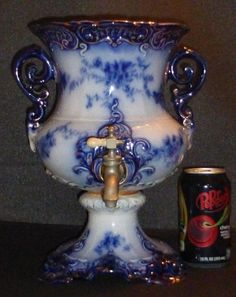 c.1900 RARE Wheeling Pottery La Belle China Flow Blue Coffee Urn (No Lid), VGC