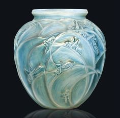 SAUTERELLES VASE, NO. 888 designed 1912, cased opalescent and blue stained, engraved R. Lalique | JV