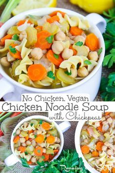Slow Cooker Chickpea Noodle Soup - Vegan Chicken Noodle Soup with chickpeas instead of chicken and lots of vegetables. An easy simple hearty and delicous vegetarian soup made in the crockpot or instant pot. Meatless veggie packed and healing. / Running in a Skirt #vegan #vegetarian #instantpot #slowcooker #crockpot #healthychicken