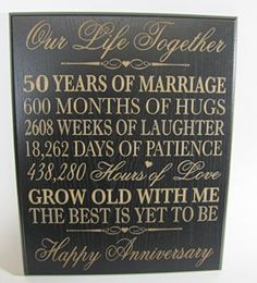 50th Wedding Anniversary Wall Plaque Gifts for Couple, 50th Anniversary Gifts… …