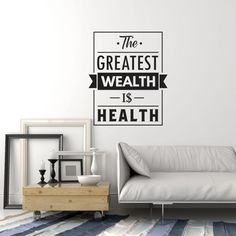 Vinyl Wall Decal Health Quote Medical Office Home Gym Inspiration Saying Stickers Mural quotes classroom quotes decals quotes decals kitchen quotes decals office Business Office Decor, Medical Office Decor, Home Office, Vinyl Wall Stickers, Vinyl Wall Decals, Vinyl Art, Cabinet Medical, Office Walls, At Home Gym