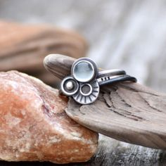 Moonstone Ring, Sterling Silver Stacking Ring Set, Oxidized Silver, Gemstone Ring Size 7, Space Jewelry, Contemporary Metalsmith Jewelry