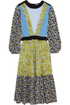 MSGM - Printed Silk Dress - Blue - IT
