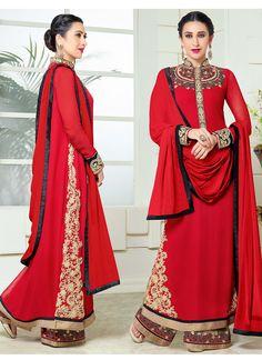 New Year Red Designer Anarkali Salwar Suits  Order Now @ http://fashionfiza.com/salwar-kameez/anarkali-suits