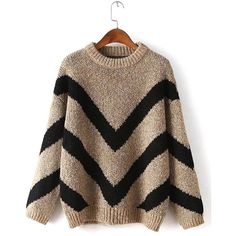 Yoins Yoins Stripe Loose Sweater (€23) ❤ liked on Polyvore featuring tops, sweaters, khaki, sweaters & cardigans, loose fitting tops, brown sweater, loose fit tops, khaki sweater and slouchy tops