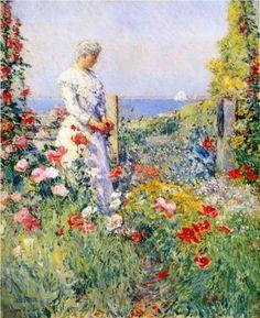 In the Garden (aka Celia Thaxter in Her Garden) - Childe Hassam