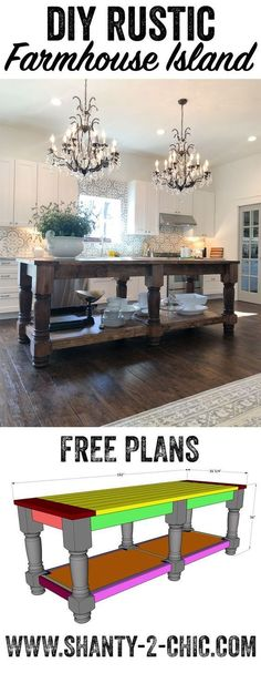 DIY Rustic Farmhouse Island, Home Decor, Free plans and how-to video to build this beautiful farmhouse style kitchen island! This island can be modified to fit your space! Farmhouse Furniture, Furniture Plans, Rustic Furniture, Diy Furniture, Kitchen Island Furniture, Furniture Design, Furniture Cleaning, Furniture Stores, Antique Furniture