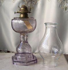Antique Oil Lamp Purple Glass Table Lamp Berry Fruit