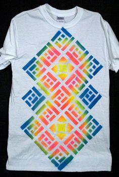 Geometric Tshirt Graffiti - Mayan Sun Totem - Mens Small - Trippy Shirt. $22.00, via Etsy.