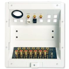 this home entertainment connection center features connections for catv digital satellite and auxiliary video input telecom connections for data and