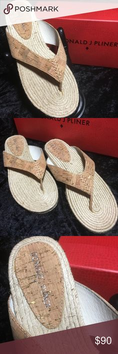 NIB - DONALD PLINER CORK SANDALS - SIZE 8M NEW IN BOX.  DONALD PLINER CORK SANDALS.  THESE ARE THE MOST UNIQUE SANDALS THAT YOU WILL HAVE IN THE WARDROBE.  VERY NICE.  THE STITCH IS GOLD (JUST ZOOM IN ON PIC FOR AWESOME DETAILS).  COMES WITH THE BOX (HAS A LITTLE DAMAGE BUT NOT SERIOUS).  PLEASE VIEW PICS AND ASK ANY QUESTIONS PRIOR TO PURCHASE.  THANKS FOR VIEWING AND SHARING MY CLOSET:-)  PLEASE COME BACK SOON AS I FREQUENTLY UPLOAD NICE NEW ITEMS FOR YOU:-) DONALD J PLINER Shoes