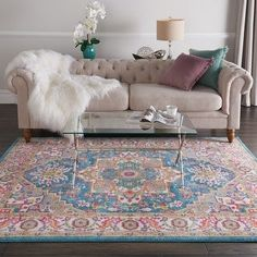 """Infuse some boho charm into your space with this beautiful Cayuga rug from The Curated Nomad. Available in a range of sizes in your choice of teal or pink as the main color, this rug features a gorgeous multicolor medallion pattern that enlivens any home. Features: Machine-made of polypropylene Star medallion pattern complements boho and contemporary decor Available with teal or pink primary color Contains latex Pile height is 0.5 inches Various sizes available Size: 6'7"""" x 9'6"""". Color: Blue. Glam Living Room, Living Room Decor, Boho Glam Home, Boho Chic, Contemporary Decor, Online Home Decor Stores, Colorful Rugs, Area Rugs, Iranian Rugs"""