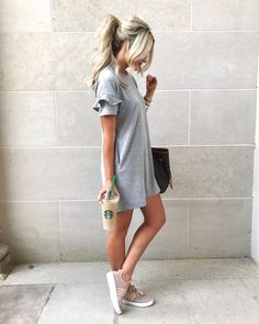 Ruffle Sleeve T-Shirt Dress - Fall Outfit Idea by Emily Herren