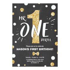 #Mr onederful birthday invitation Boy Black Gold - #giftidea #gift #present #idea #one #first #bday #birthday #1stbirthday #party #1st
