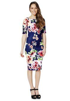 Clothing at Tesco | AX Paris Floral Print Half Sleeve Dress > dresses > Women's Dresses > Women