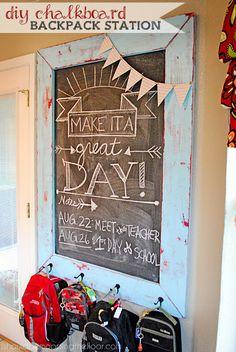 DIY Chalkboard Frame and Backpack Station Tutorial
