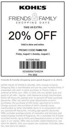Pinned August 1st: 20% off at #Kohls, or online via promo code FAMILY20 #coupon via The #Coupons App