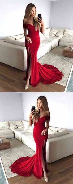2018 Mermaid Prom Dress, Sexy Mermaid Off-Shoulder Red Long Prom Evening Dress with Split Front 2018 Mermaid Abendkleid, Sexy Mermaid Off-Shoulder Red Langes Abendkleid Tight Prom Dresses, Prom Dresses For Teens, Prom Dresses Online, Cheap Prom Dresses, Dance Dresses, Dress Prom, Dress Formal, Red Long Dress Bridesmaid, Maxi Dresses