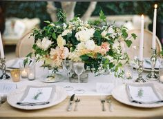 Soft Organic Romantic Wedding Centerpiece