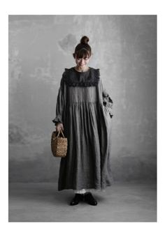 BerryStyle: Joie de Vivre French linen point dyeing vintage gathers dress - Purchase now to accumulate reedemable points! Mori Fashion, Kimono Fashion, Hijab Fashion, Fashion Dresses, Iranian Women Fashion, Muslim Fashion, Modern Hanbok, Dress With Cardigan, Sweet Dress