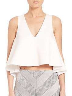 NICHOLAS Ponte Flared Cropped Top - White - Size