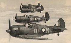 RAAF CAC Boomerang fighters in formation (Date and location unknown)
