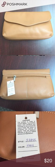 Leather oversized clutch Genuine leather, tan with white stitching. Crossbody strap included. A minor scratch in the leather on the front as shown in picture. Magnetic snap closure. Biacci USA Bags Clutches & Wristlets