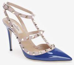 Valentino Blue Rockstud Patent Leather Slingback Stiletto Royal Blue