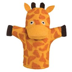 Giraffe puppet, handmade + felted. So cute. btw - kids will share things with puppets that they never think to share with you (and yes, they can see it's on YOUR hand and YOUR lips are moving LOL) just sayin... it's amazing :)