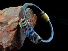 Brown Regaliz Leather Bracelet with Matte Metallic Miyuki Delicas on Etsy, $30.00