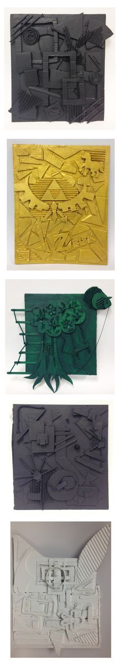 """Assemblage Sculpture Projects - 8th grade art ***I""""ve Kindergarten-ized this by doing it with dried pasta: penne, wheels, farfalle, fettuccine, elbows, etc. Easier on little fingers that aren't quite adept at cutting shapes yet!-jlm"""