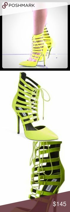 Steve Madden Neon Gladiator Stillettos These are to die for!! Bright beautiful neon yellow gladiator sandals style Stillettos. They are a size 7 and true to size. The heels have a couple of wear marks and are shown in the pictures. Otherwise in excellent condition. Steve Madden Shoes Heels
