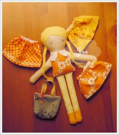 Fabric Doll with 3 skirts and a canvas bag by JEEoliver on Etsy, $21.00
