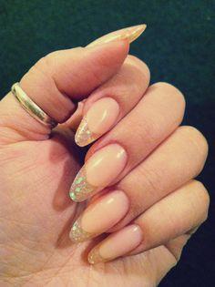 Pink glitter French twist almond nails