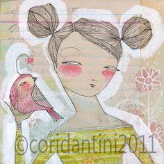 Acuarela retrato de una mujer y pájaro - 8 x 8 pulgadas limited edition archivo imprimir por cori dantini