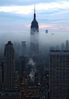 Fog on Empire State, New York City, United States.
